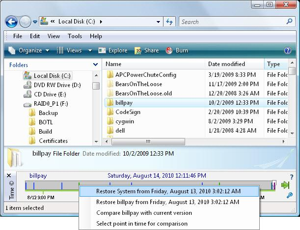 Figure 11: Context menu for a restore point